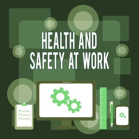Writing note showing Health And Safety At Work. Business concept for Secure procedures prevent accidents avoid danger Business Concept PC Monitor Mobile Device Clipboard Ruler Ballpoint Pen