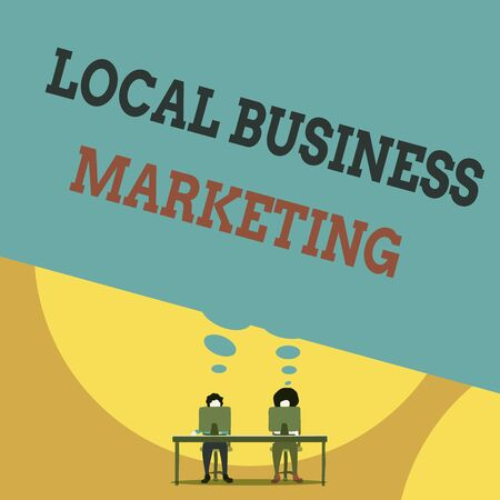 Text sign showing Local Business Marketing. Business photo text Localized specification on Store characteristic Two men sitting behind desk each one laptop sharing blank thought bubble