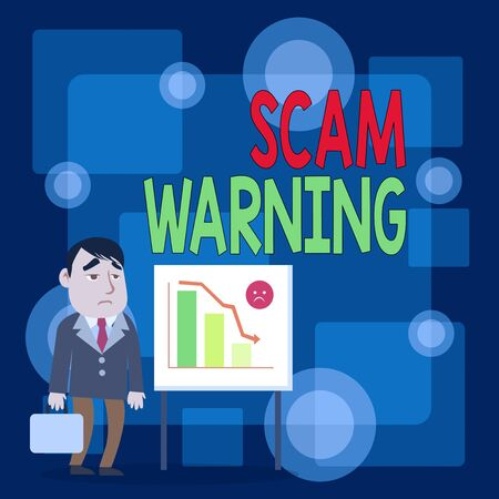 Writing note showing Scam Warning. Business concept for caution of unsolicited email claims the prospect of a bargain Businessman with Brief Case Standing Whiteboard Bar Chart Stok Fotoğraf