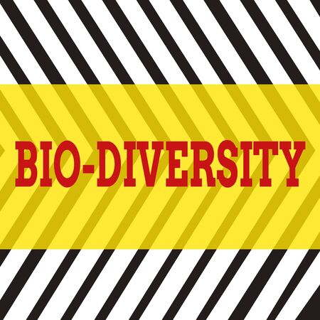 Word writing text Bio Diversity. Business photo showcasing Variety of Life Organisms Marine Fauna Ecosystem Habitat Seamless Vertical Black Lines on White Surface in Mirror Image Reflection