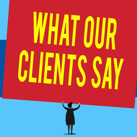Writing note showing What Our Clients Say. Business concept for testimonials or feedback of aclient about the product Short hair woman standing dress hands up holding blank rectangle Stok Fotoğraf