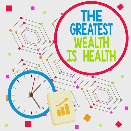 Handwriting text The Greatest Wealth Is Health. Conceptual photo being in good health is the prize Take care Layout Wall Clock Notepad with Escalating Bar Graph and Arrow Pointing Up 写真素材
