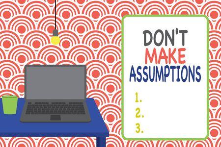 Conceptual hand writing showing Don T Make Assumptions. Concept meaning putting plan in future with percentage happening Front view laptop lying on wooden desktop light bulb glass Imagens
