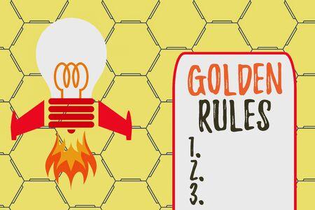 Escritura de texto Word Reglas de oro. Foto de negocios que muestra el principio básico que siempre debe seguirse para garantizar el éxito Vista superior del lanzamiento de la base de fuego de cohetes de bombilla. Iniciando nuevo proyecto. Idea de combustible