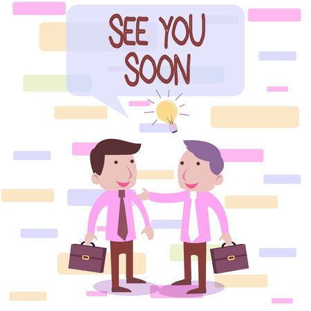 Writing note showing See You Soon. Business concept for used for saying goodbye to someone and going to meet again soon Two White Businessmen Colleagues with Brief Cases Sharing Idea Solution Stok Fotoğraf