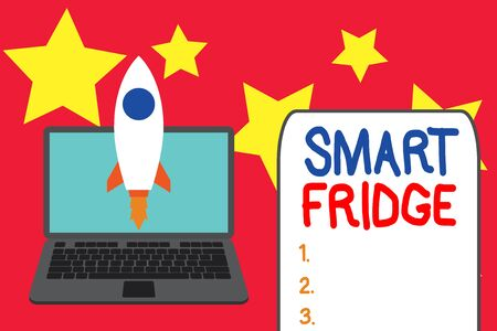 Word writing text Smart Fridge. Business photo showcasing programmed to sense what kinds of products being stored inside Launching rocket up laptop . Startup project. Developing goal objectives