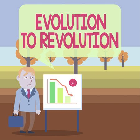 Conceptual hand writing showing Evolution To Revolution. Concept meaning adapting to way of living for creatures and huanalysiss Businessman with Brief Case Standing Whiteboard Bar Chart