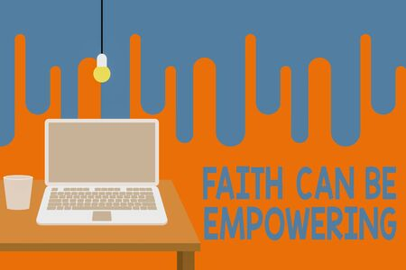 Word writing text Faith Can Be Empowering. Business photo showcasing Trust and Believing in ourselves that we can do it Front view open laptop lying on wooden desktop light bulb falling glass