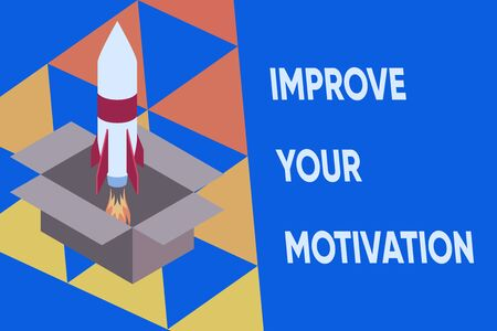 Text sign showing Improve Your Motivation. Business photo text Boost your self drive Enhance Motives and Goals Fire launching rocket carton box. Starting up project. Fuel inspiration Stock Photo