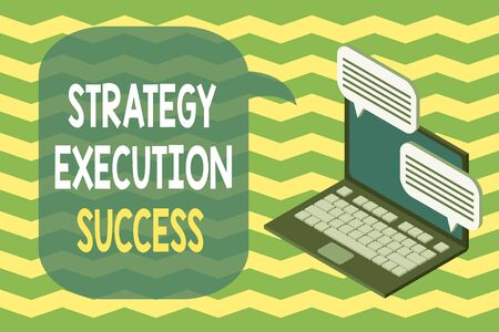 Word writing text Strategy Execution Success. Business photo showcasing putting plan or list and start doing it well Laptop receiving sending information conversation texting internet wireless