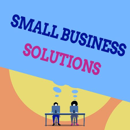 Text sign showing Small Business Solutions. Business photo text a Company to solve Specific Trade problems Two men sitting behind desk each one laptop sharing blank thought bubble