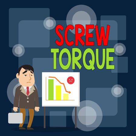 Writing note showing Screw Torque. Business concept for measure of the twisting force required to spin the nut Businessman with Brief Case Standing Whiteboard Bar Chart