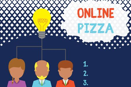 Conceptual hand writing showing Online Pizza. Concept meaning fast delivery of pizza at your doorstep Ordering food online Three executive persons sharing idea Startup team meeting