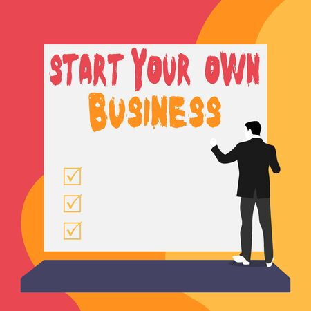 Conceptual hand writing showing Start Your Own Business. Concept meaning Entrepreneurial Venture a Startup Enter into Trade Back view young woman watching blank big rectangle