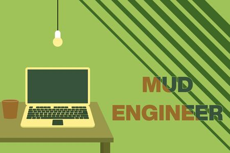 Text sign showing Mud Engineer. Business photo showcasing liable for making mixture of fluids used in drilling process Front view open laptop lying on wooden desktop light bulb falling glass