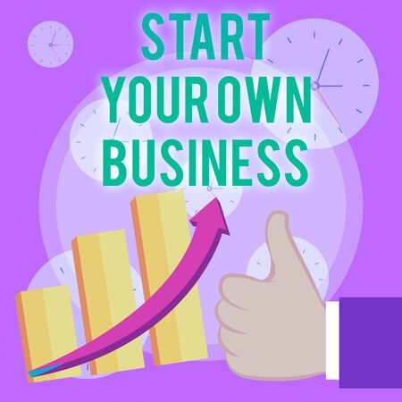 Writing note showing Start Your Own Business. Business concept for Entrepreneurial Venture a Startup Enter into Trade Thumb Up Good Performance Success Escalating Bar Graph Ascending Arrow Zdjęcie Seryjne
