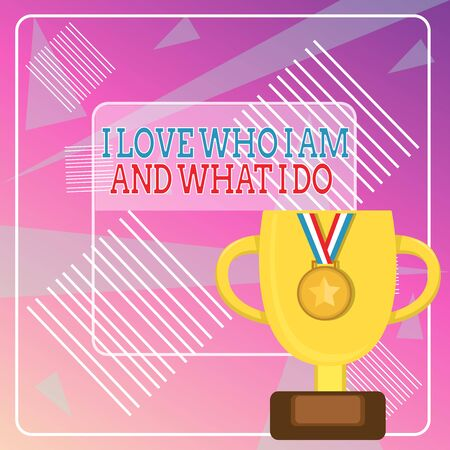 Word writing text I Love Who I Am And What I Do. Business photo showcasing High selfstem being comfortable with your job Trophy Cup on Pedestal with Plaque Decorated by Medal with Striped Ribbon 写真素材