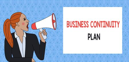 Text sign showing Business Continuity Plan. Business photo showcasing creating systems prevention deal potential threats Young Woman Jacket Ponytail Shouting into Loudhailer Rectangular Text Box 写真素材