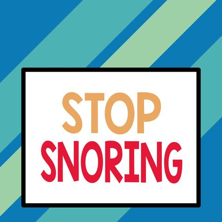 Text sign showing Stop Snoring. Business photo text noisy breathing during sleep due to vibrating airway tissue Front close up view big blank rectangle abstract geometrical background Stok Fotoğraf