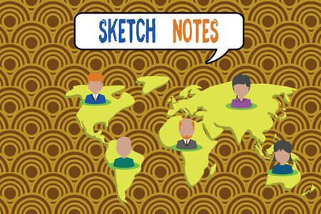 Conceptual hand writing showing Sketch Notes. Concept meaning visual notetaking Combination of notetaking and doodling Connection multiethnic persons all Global business earth map Stok Fotoğraf
