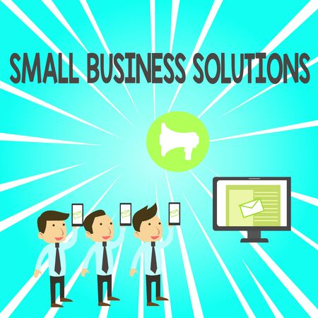 Handwriting text Small Business Solutions. Conceptual photo a Company to solve Specific Trade problems SMS Email Marketing Media Audience Attraction Personal Computer Loudspeaker