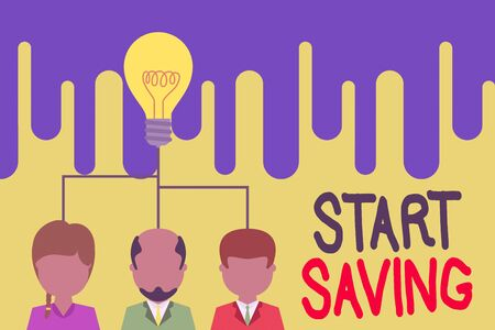 Text sign showing Start Saving. Business photo text money that a demonstrating keeps in an account in a bank or like Group three executive persons sharing idea icon. Startup team meeting
