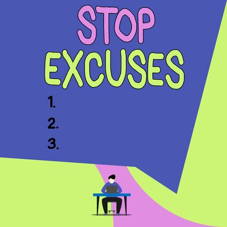 Conceptual hand writing showing Stop Excuses. Concept meaning put an end to an explanation for something that went wrong View young man sitting chair desk working open laptop 写真素材