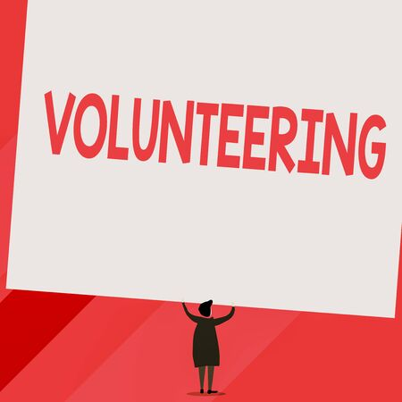 Conceptual hand writing showing Volunteering. Concept meaning Provide services for no financial gain Willingly Oblige Short hair woman dress hands up holding blank rectangle