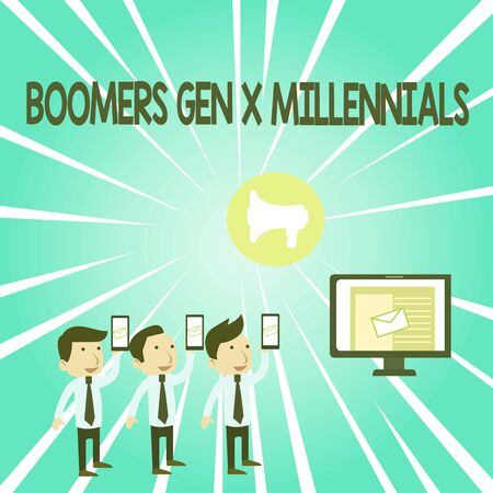 Handwriting text Boomers Gen X Millennials. Conceptual photo generally considered to be about thirty years SMS Email Marketing Media Audience Attraction Personal Computer Loudspeaker