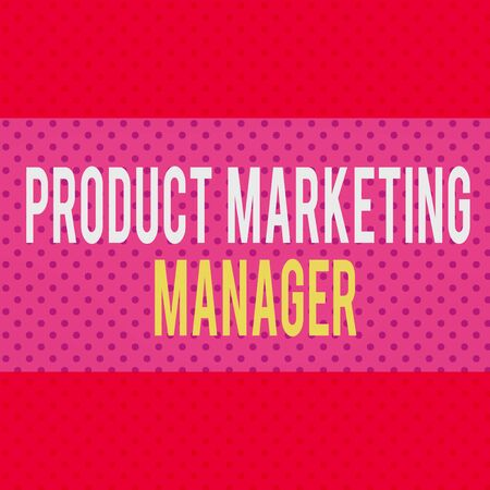 Word writing text Product Marketing Manager. Business photo showcasing who responsible for putting plan to sell product Seamless Endless Infinite Polka Dot Pattern against Solid Red Background