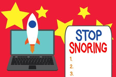 Word writing text Stop Snoring. Business photo showcasing noisy breathing during sleep due to vibrating airway tissue Launching rocket up laptop . Startup project. Developing goal objectives