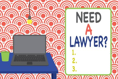 Conceptual hand writing showing Need A Lawyer Question. Concept meaning Legal problem Looking for help from an attorney Front view laptop lying on wooden desktop light bulb glass 스톡 콘텐츠