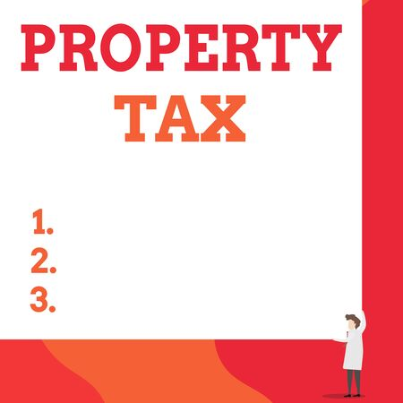 Writing note showing Property Tax. Business concept for an ad valorem tax on the value of a property Millage rate One man professor wear white coat red tie hold big board use two hands