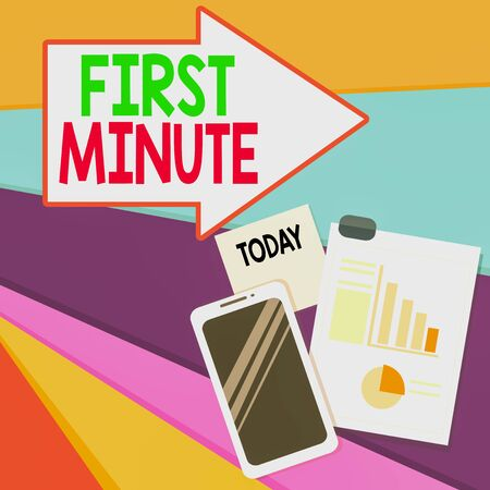 Handwriting text writing First Minute. Conceptual photo promotional offers last within a very short amount of time Layout Smartphone Off Sticky Notes Clipboard with Pie Chart and Bar Graph Banco de Imagens