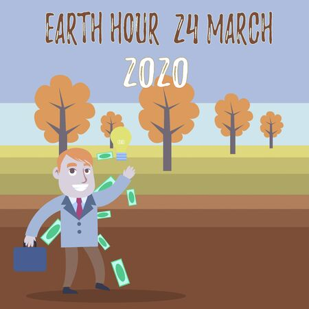 Conceptual hand writing showing Earth Hour 24 March 2020. Concept meaning Celebrate Sustainability Save the Planet Lights Off Successful Businessman Generating Idea or Finding Solution