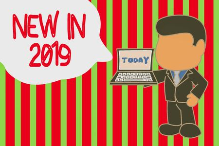 Writing note showing New In 2019. Business concept for what will be expecting or new creation for the year 2019 Standing professional businessman holding open laptop right hand side 版權商用圖片