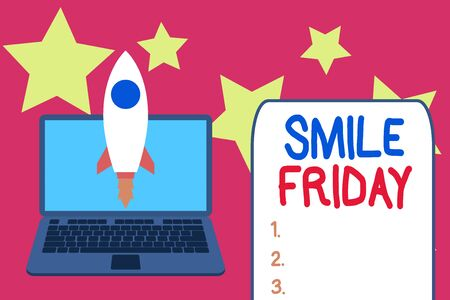 Word writing text Smile Friday. Business photo showcasing used to express happiness from beginning of fresh week Launching rocket up laptop . Startup project. Developing goal objectives