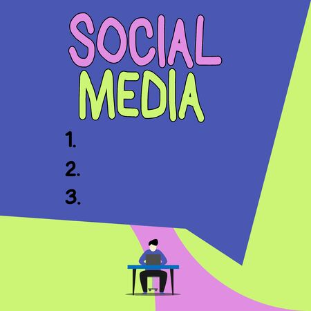 Conceptual hand writing showing Social Media. Concept meaning collective of online communications channels or networking View young man sitting chair desk working open laptop