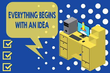 Writing note showing Everything Begins With An Idea. Business concept for steps you take to turn an idea into a reality Desktop station drawers personal computer launching rocket