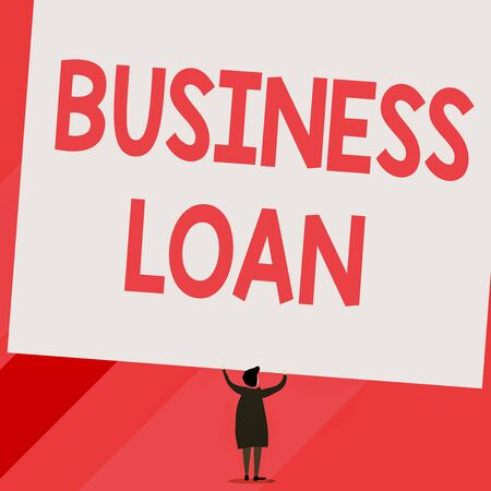Conceptual hand writing showing Business Loan. Concept meaning Credit Mortgage Financial Assistance Cash Advances Debt Short hair woman dress hands up holding blank rectangle Banco de Imagens - 131343371