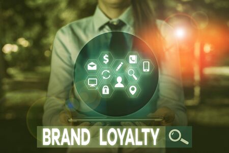 Writing note showing Brand Loyalty. Business concept for Repeat Purchase Ambassador Patronage Favorite Trusted
