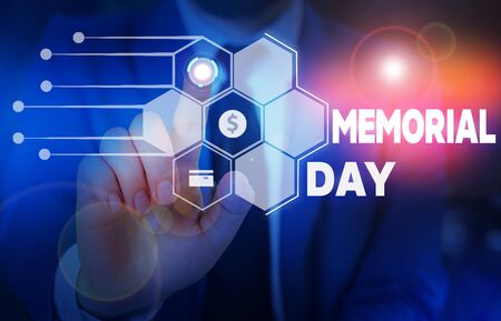 Conceptual hand writing showing Memorial Day. Concept meaning remembering the military demonstratingnel who died in service Male wear formal suit presenting presentation smart device Imagens