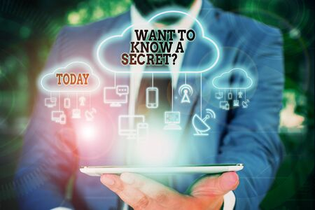 Text sign showing Want To Know A Secret Question. Business photo text to divulge a confidential vital information Male human wear formal work suit presenting presentation using smart device 写真素材