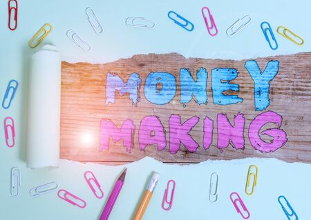 Word writing text Money Making. Business photo showcasing producing a profit especially with little effort Profitable