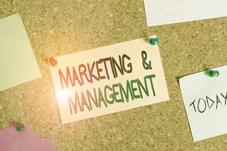 Writing note showing Marketing And Management. Business concept for process of developing strategies for product Corkboard size paper thumbtack sheet billboard notice board Banco de Imagens - 131343302