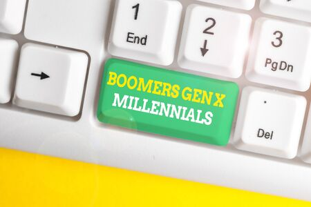 Writing note showing Boomers Gen X Millennials. Business concept for generally considered to be about thirty years White pc keyboard with note paper above the white background