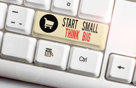 Handwriting text Start Small Think Big. Conceptual photo Initiate with few things have something great in mind White pc keyboard with empty note paper above white background key copy space Stok Fotoğraf