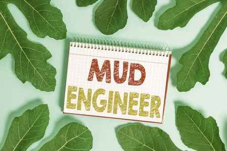 Conceptual hand writing showing Mud Engineer. Concept meaning liable for making mixture of fluids used in drilling process 版權商用圖片