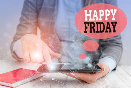 Text sign showing Happy Friday. Business photo text Greetings on Fridays because it is the end of the work week Female human wear formal work suit presenting presentation use smart device