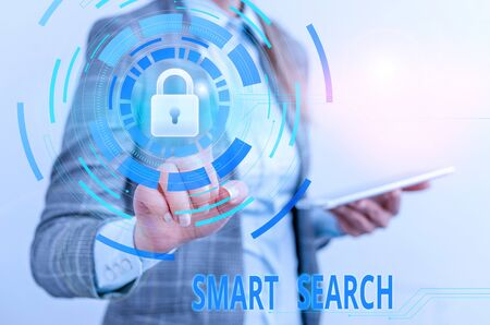 Word writing text Smart Search. Business photo showcasing tool used in recording software for searching based on motion Female human wear formal work suit presenting presentation use smart device